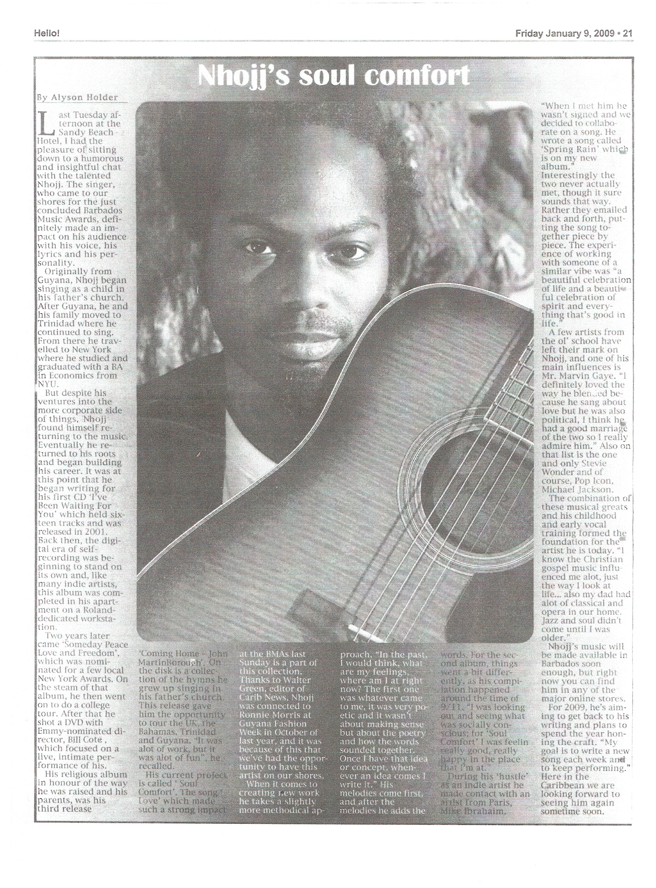 Nhojj Article in the Barbados Advocate Newspaper