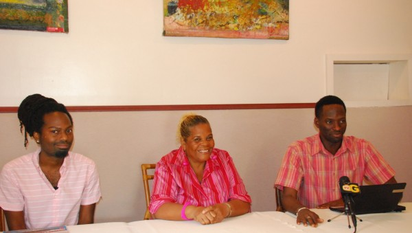 Left to Right:  Nhojj, Co-Chairs, Namela Baynes-Rowe and Joel Simpson (Courtesy of SASOD)