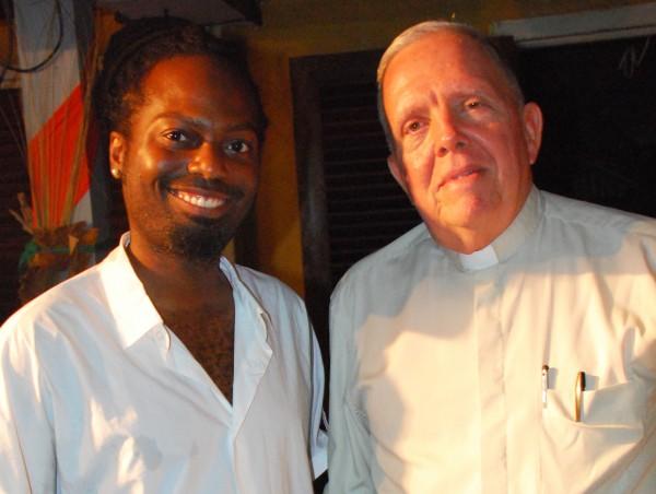Nhojj and Bishop Francis Alleyne at the Sidewalk Cafe (Courtesy of SASOD)